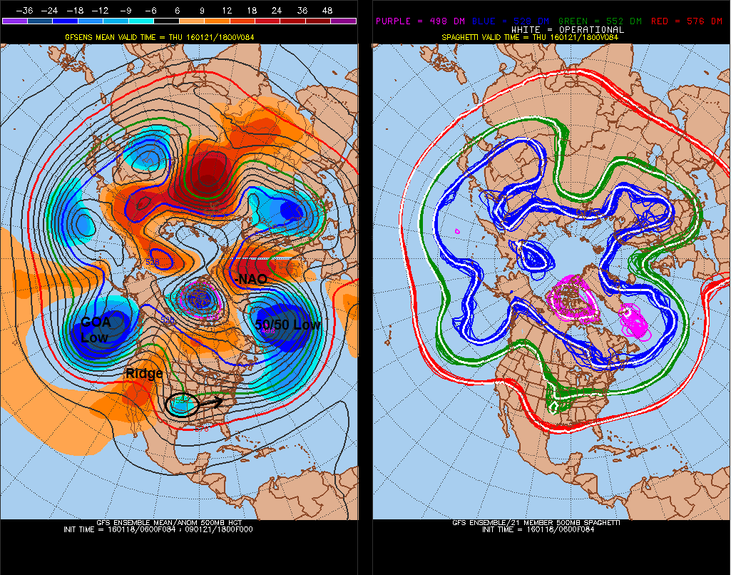 The GEFS forecast showing for Thursday morning