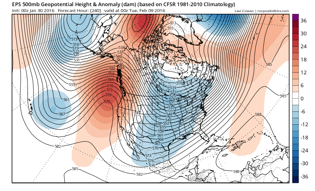 The Euro Ensemble Mean forecast for the second week of February