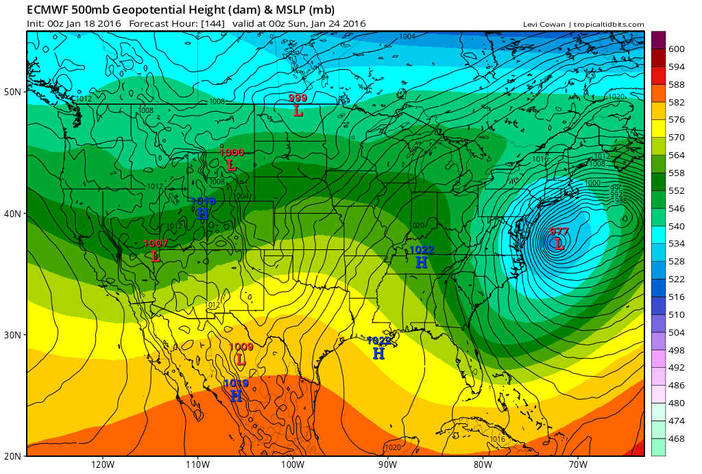 The 0z ECMWF showing major nor'easter for I-95 corridorthe area with surface and 500mb low off the coast.