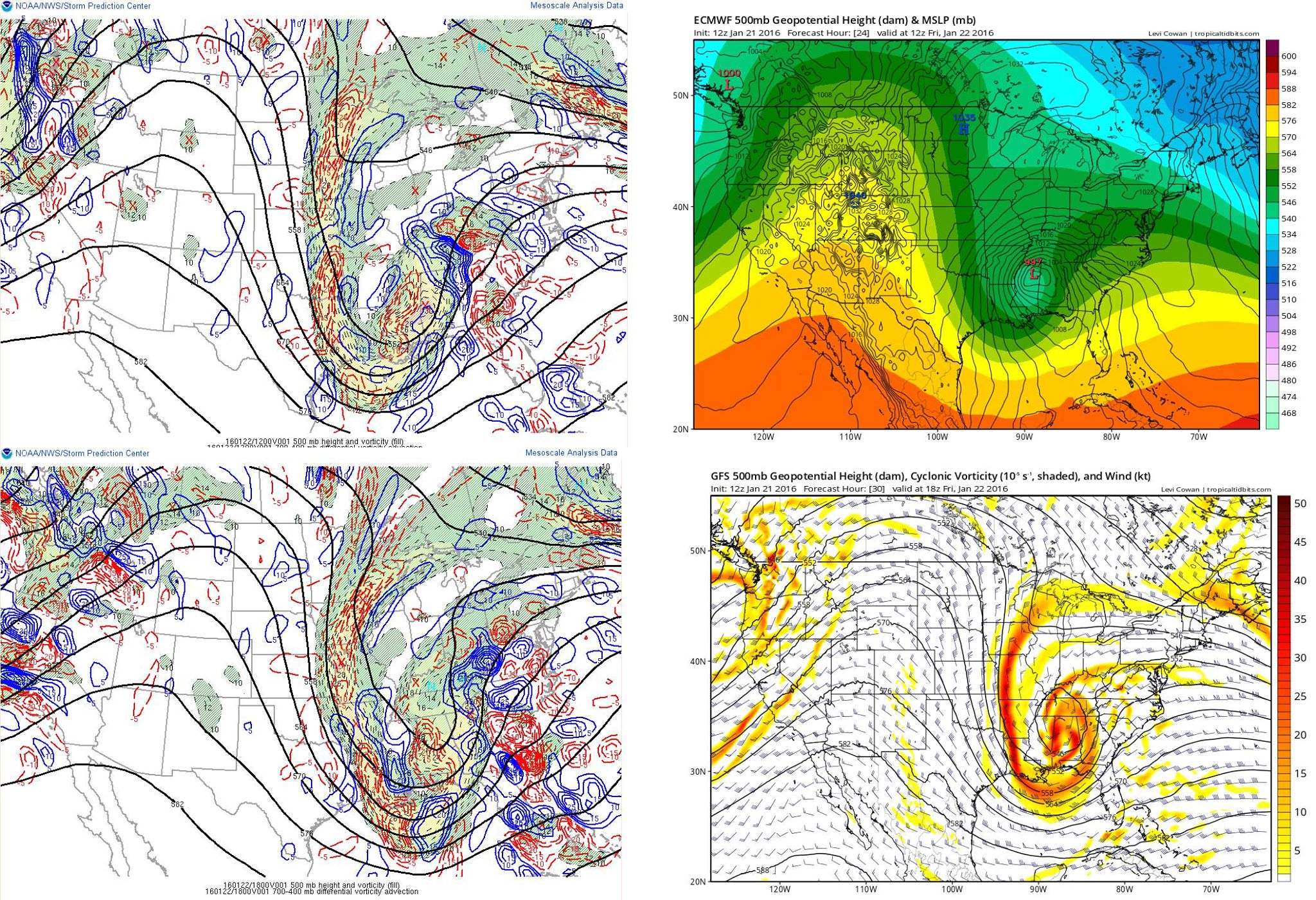 The GFS and the European Model from 12z Thursday January 21st, in comparison with actual observations. Both the GFS and the Euro cut off the 500mb low way too early, and also were showing way too much confluence to the northeast. This led them to show much lower heights (less amplification) in the East compared to the actual observations.