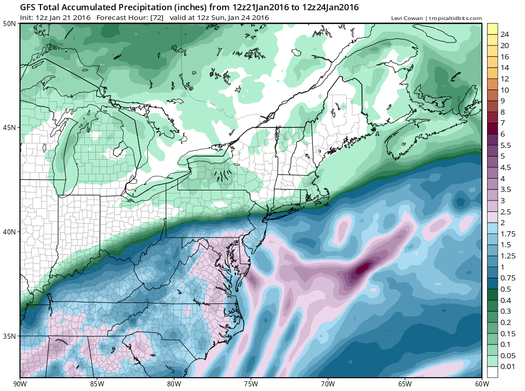 GFS model showing a tremendous cutoff in precipitation totals near the NYC Region by the time the storm ends on Sunday.