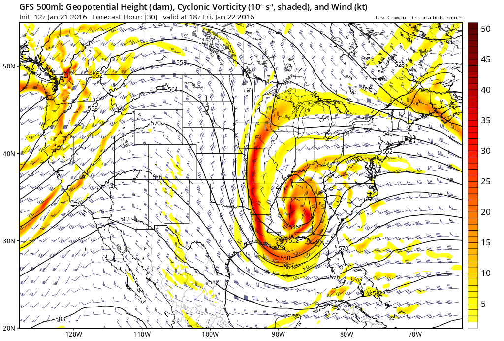 GFS model showing a large mid level trough over Southeast US later this week, with a weakening ridge out west.