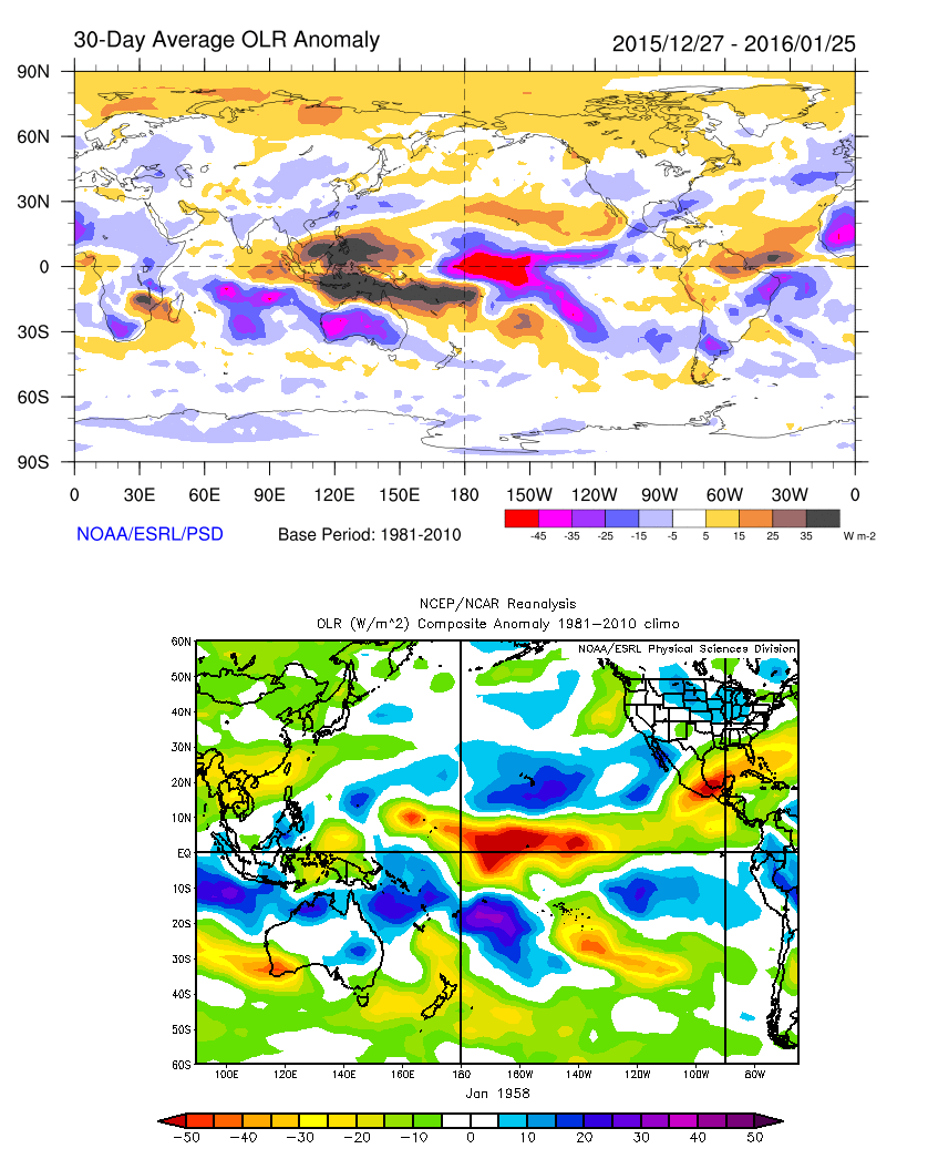 Past 30-Day average from of OLR anomalies, shows a large area of enhanced convection associated with strong tropical forcing between between 180 and 150W over the tropical Pacific. Very similar OLR anomalies in January 1958 (bottom image)
