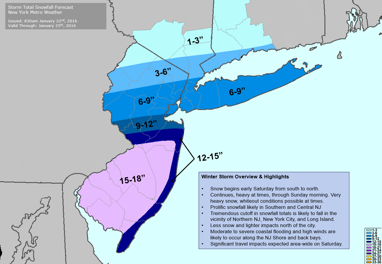 Storm Total Snowfall Forecast issued 9:00am January 22nd, 2016.