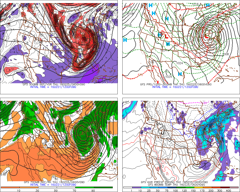 The 12z GFS showing the storm system tracking to Ohio Valley for mid-week.