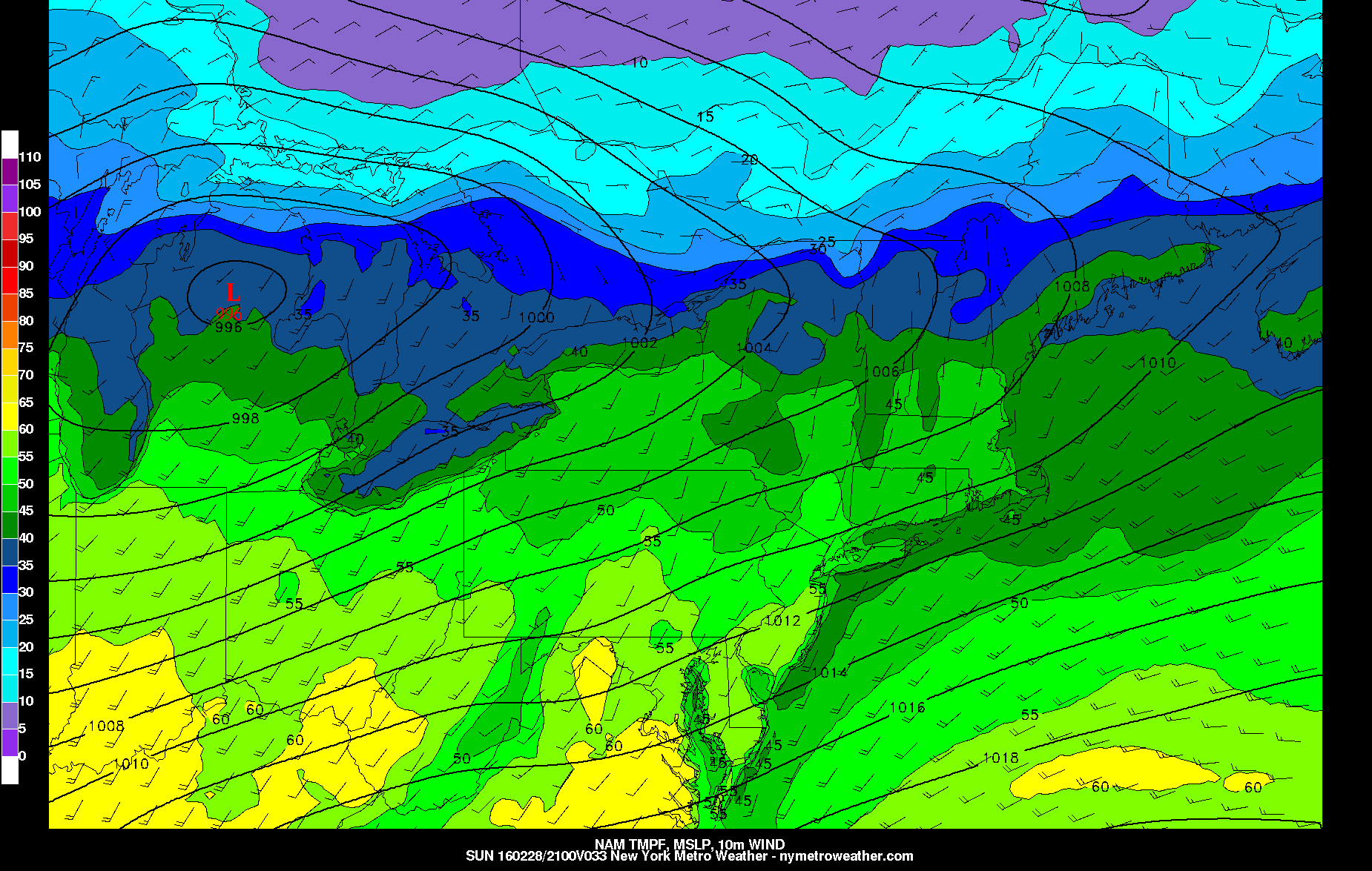 NAM showing temperatures in the 50s tomorrow