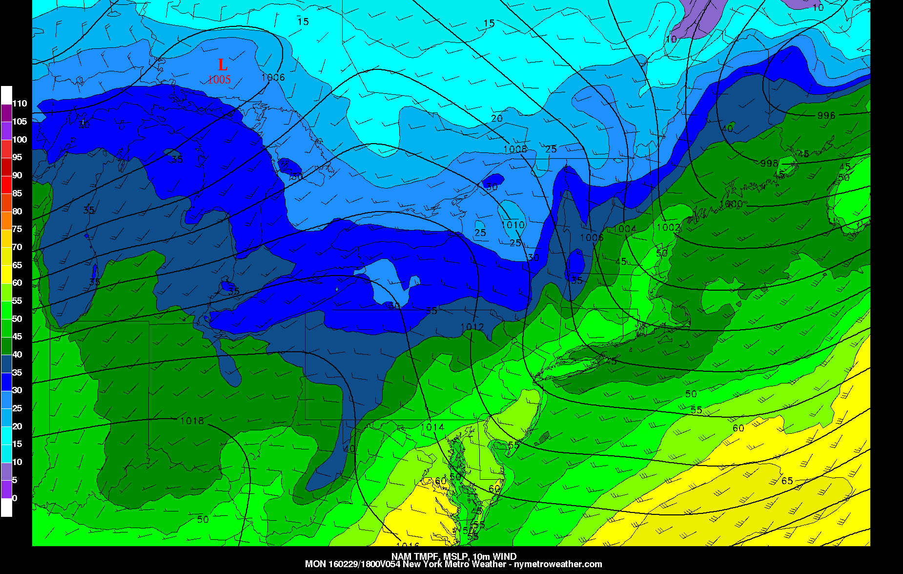 The NAM showing 50s again again on Monday, with west-northwest winds behind the cold front