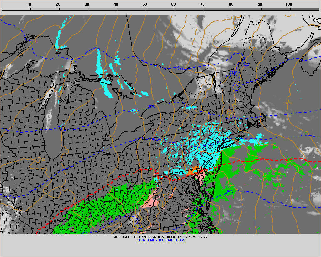 The NAM model showing light snow overspreading for region tomorrow afternoon.