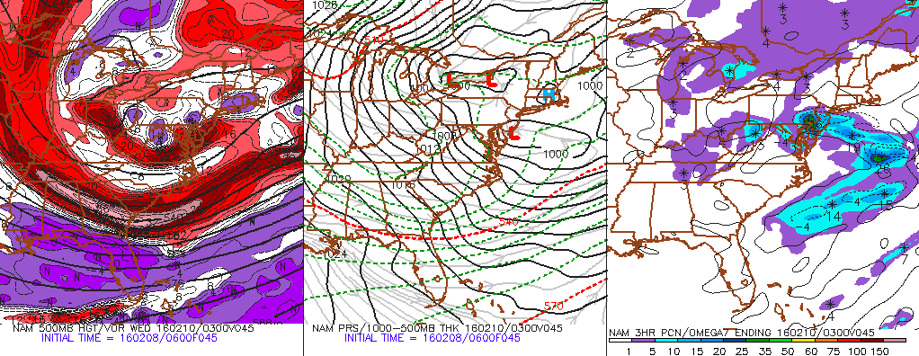NAM model showing a low pressure area extending westward toward the coast on Tuesday, with snow in parts of NJ.