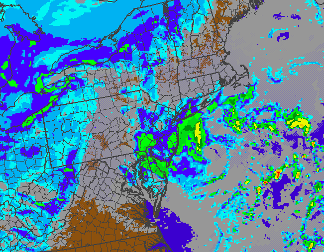 NAM model showing light to moderate snow on Tuesday evening from a  weak coastal storm.