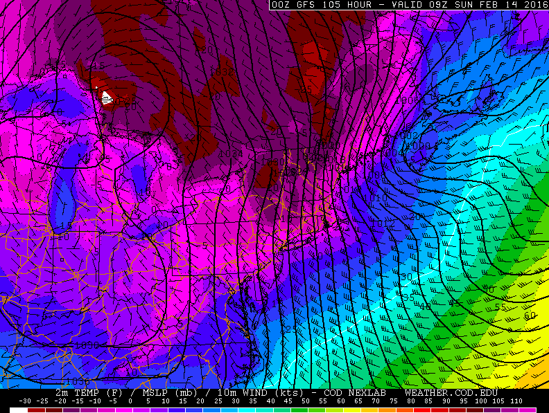 GFS model forecasting low temperatures below zero throughout the area from Saturday Night into Sunday morning.