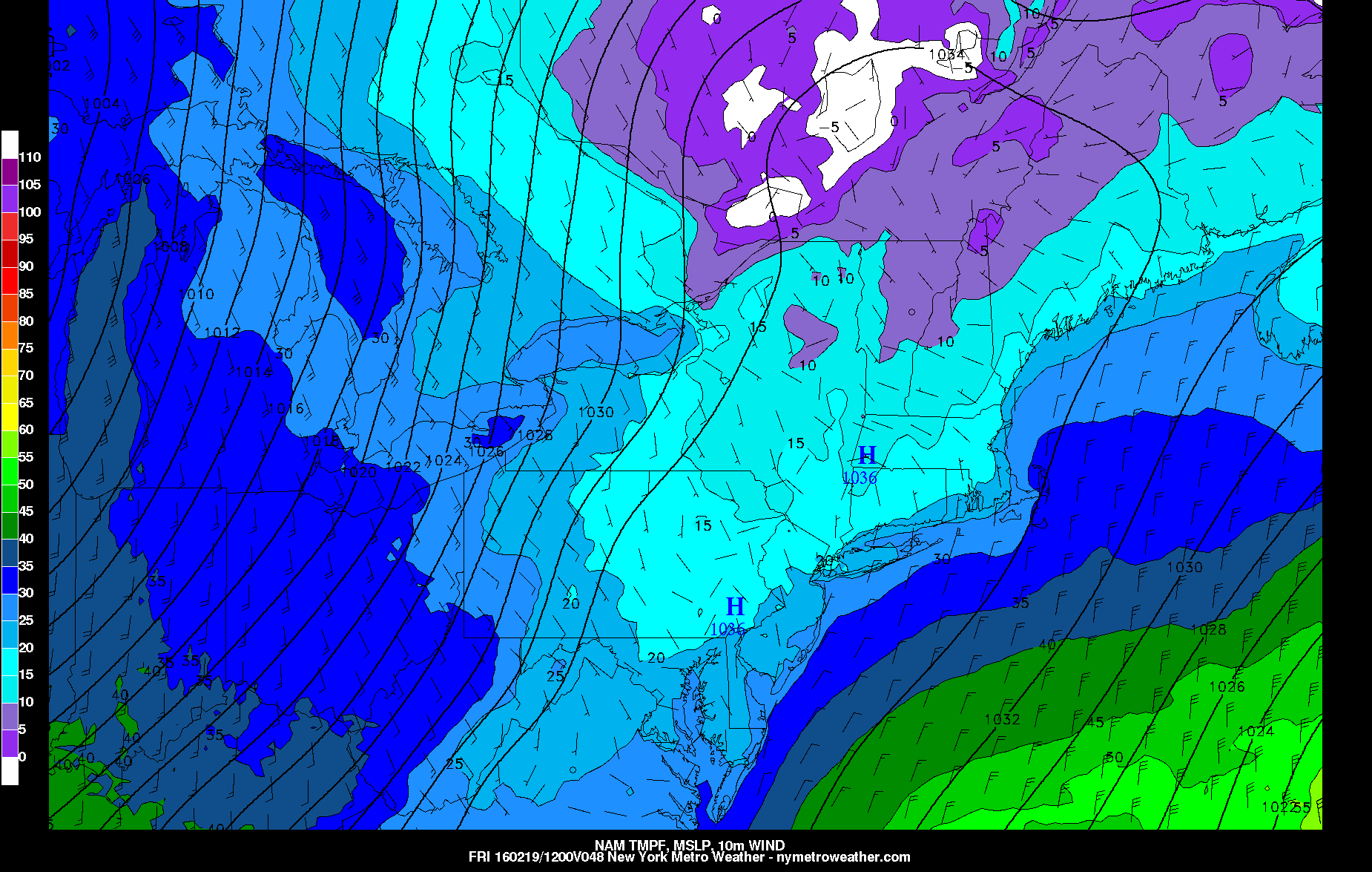 Today's NAM Model valid for Friday morning shows temperatures falling into the teens for most of the area.