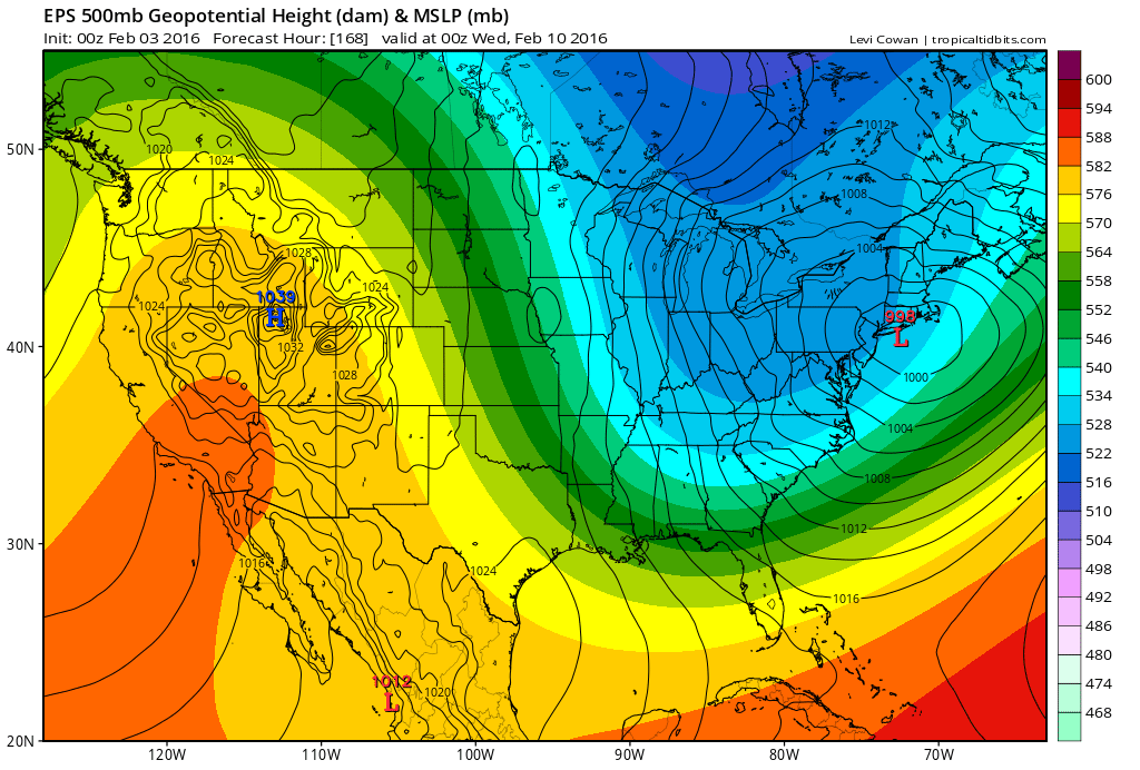 European model ensemble mean showing a Nor'Easter south of Long Island early next week.