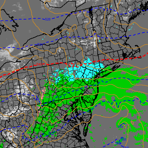NAM model showing a period of snow in the interior on Tuesday.