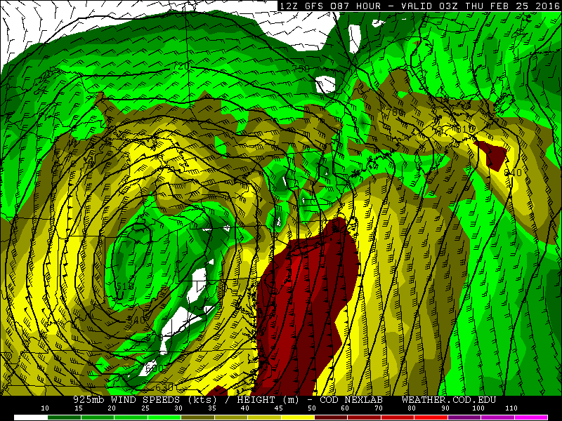 The 12z GFS showing 50kt to 70kt winds at 925mb level Wednesday night.