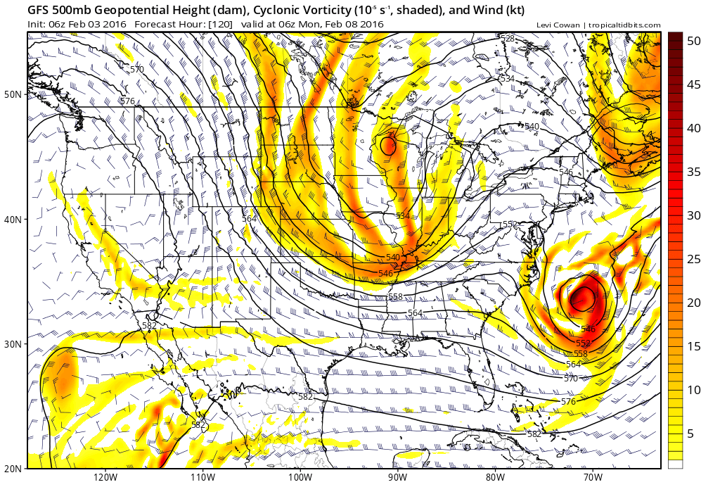 GFS model showing a large piece of energy off the Southeast US coast this weekend and early next week.