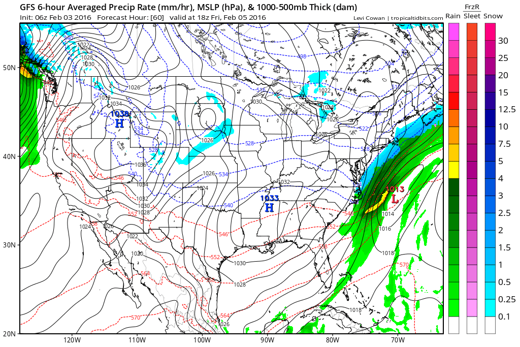 GFS model showing a low pressure system scraping the area on Friday morning.