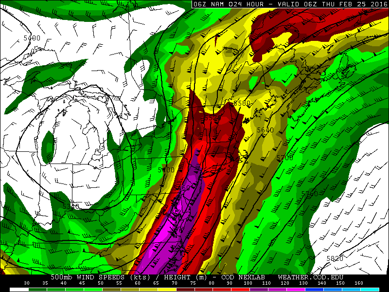 The NAM showing 500mb southerly jet over100kts over the Mid-Atlantic region this early tonight