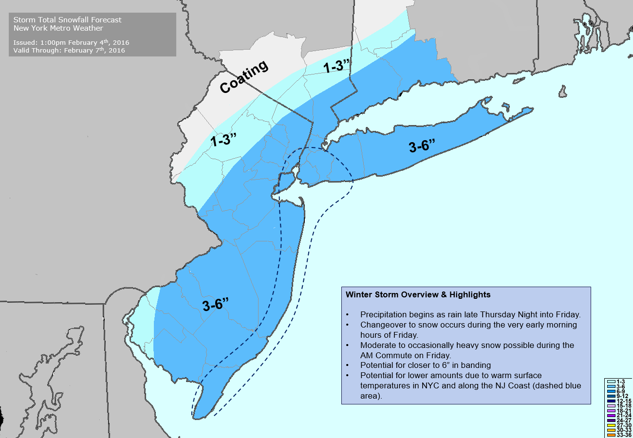 Storm total snowfall forecast issued at 5:00pm 2/4/2016.
