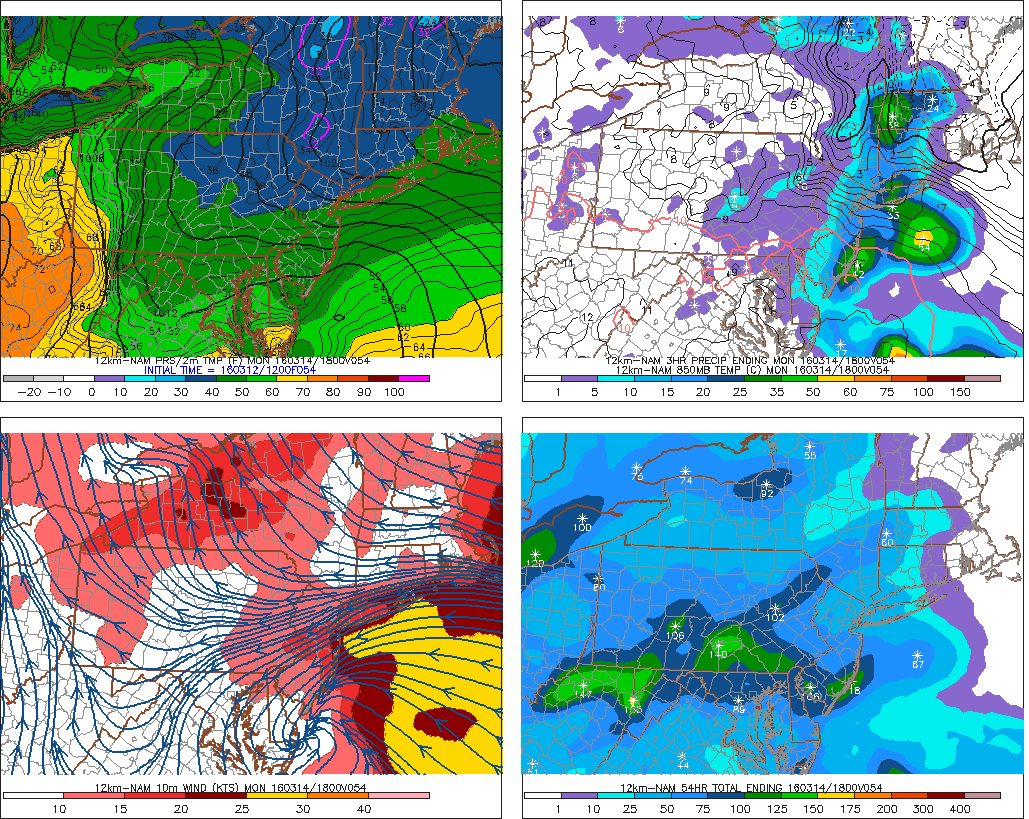 12z NAM showing rainfall with easterly winds and chilly temperatures on Monday