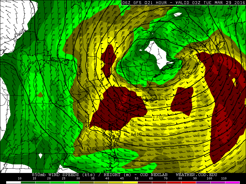GFS showing 50kt strong winds at 850mb tonight