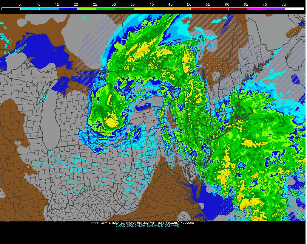 HRRR shwoing rainfall in region this morning.