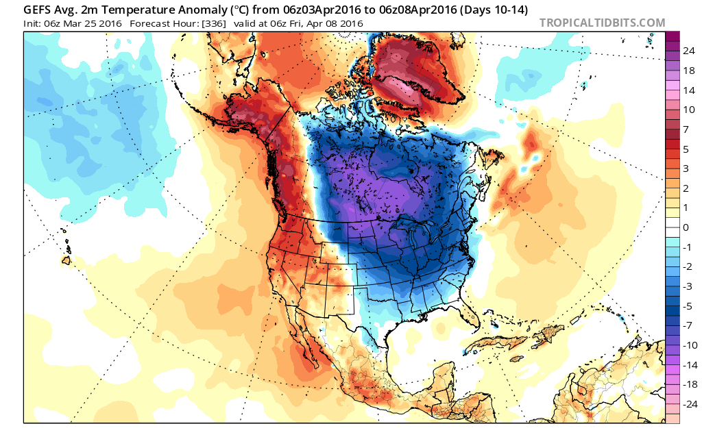 GEFS showing 2m temperatures averaging below normal over Central and Eastern United between April 3rd and April 8th