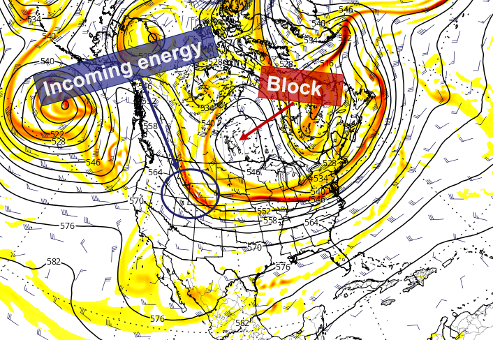 Forecast models agree that a Central Canadian block will develop, aiding in the eventual development of a Nor'Easter this weekend.