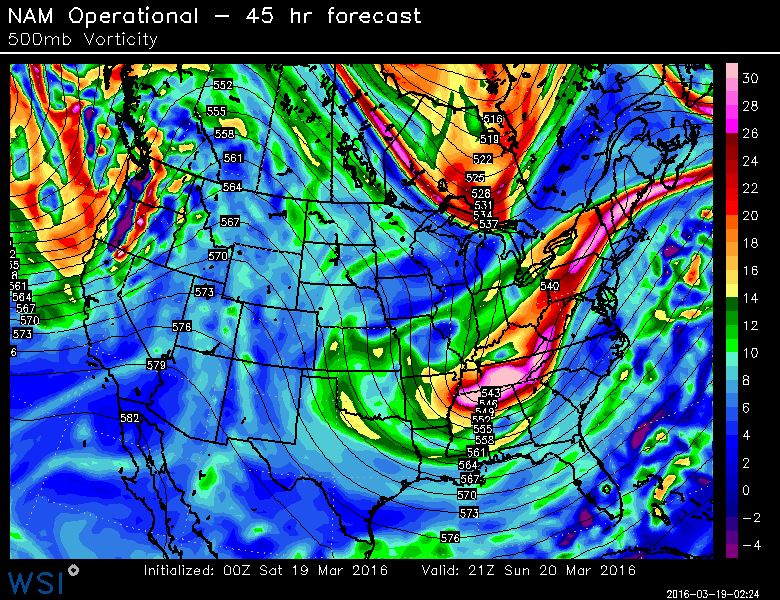 NAM model showing the atmospheric setup in th mid levels as the storm evolves this weekend.