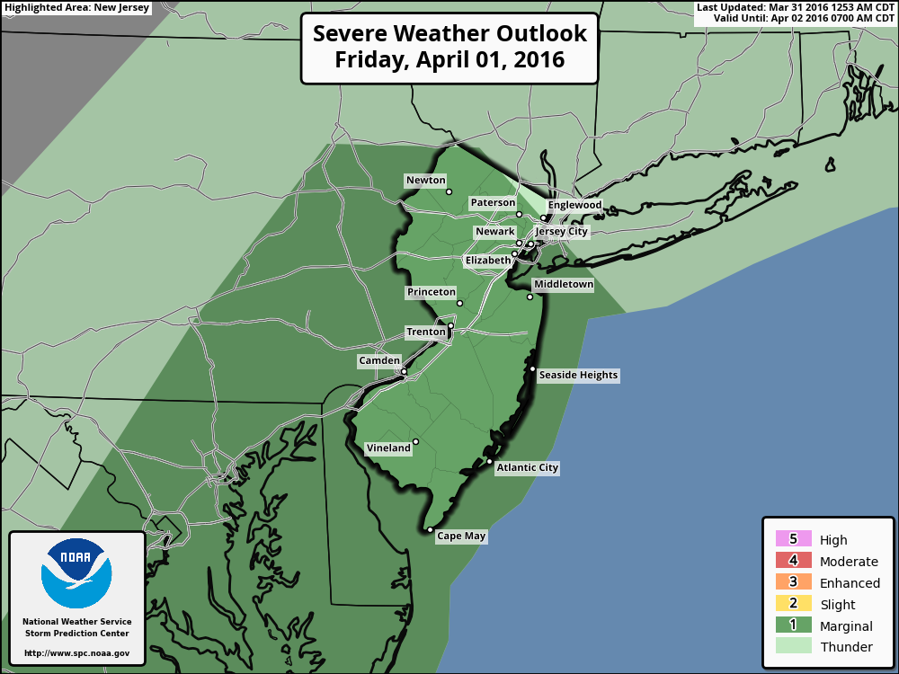 SPC severe weather outlook for Friday, showing a marginal risk in parts of NJ and the NYC  Metro.