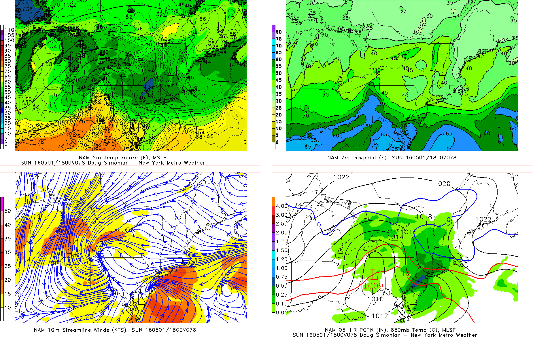 NAM model showing the next storm bringingrainfall with onshore winds and temperatures in 40s on Sunday afternoon
