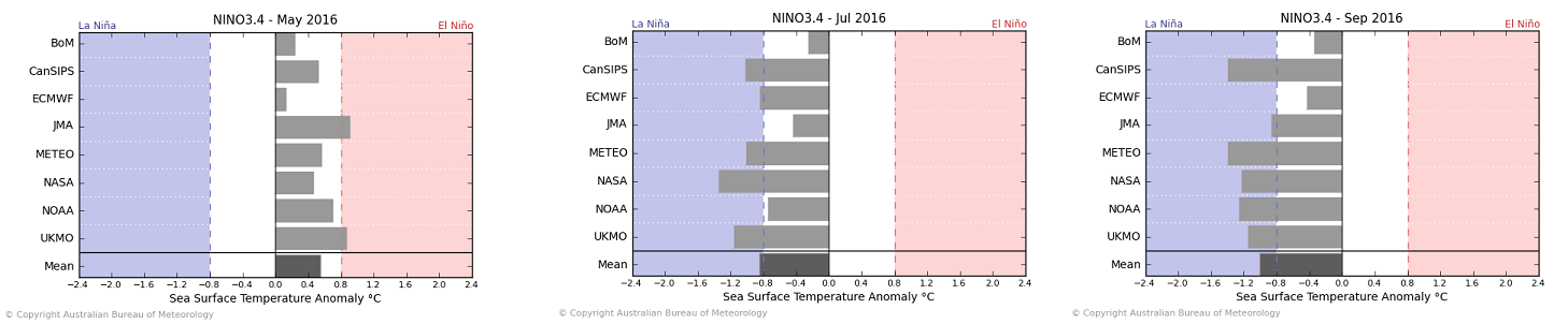 The BOM ENSO models paint a bit more of a realistic picture: all of them showing weak to moderate La Nina conditions at the event's peak.