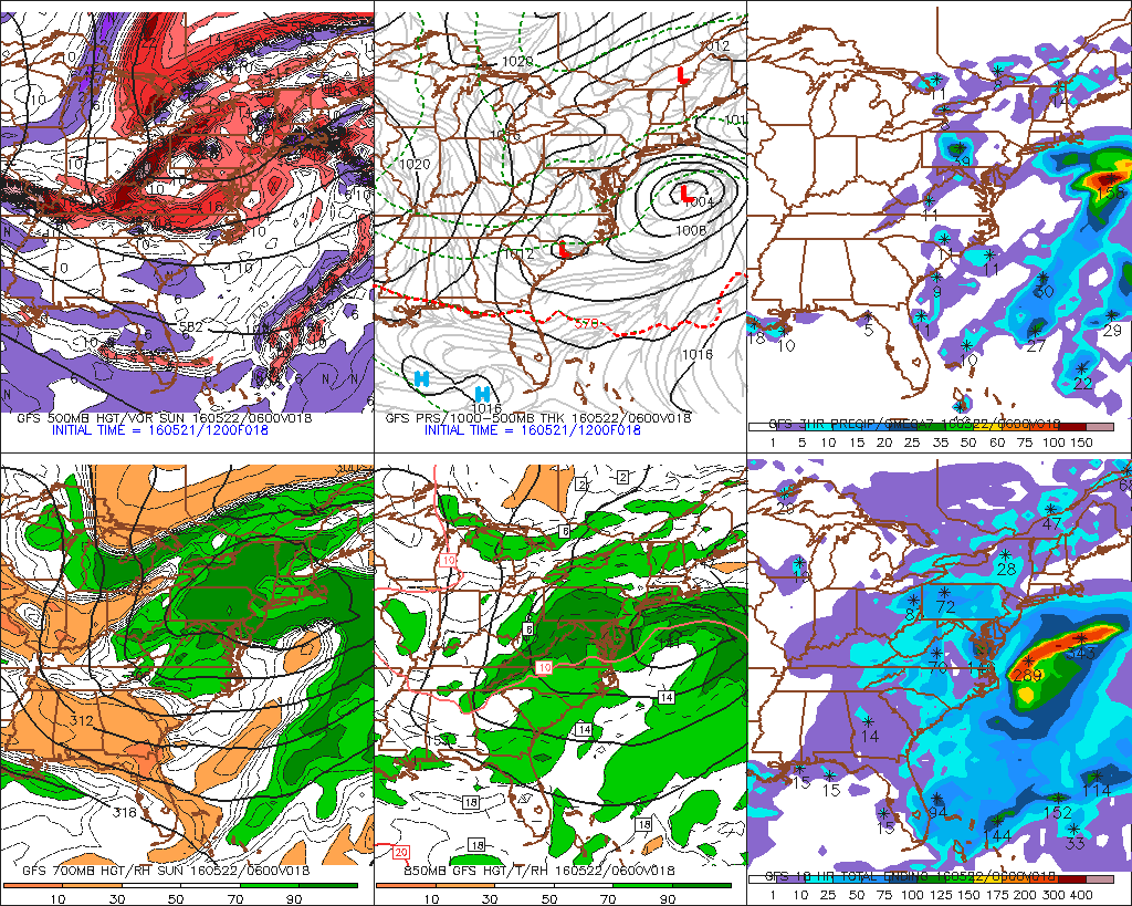 The 12z GFS showing 500mb trough broad and positive tilted. Coastal storm tracks farther offshore as result.