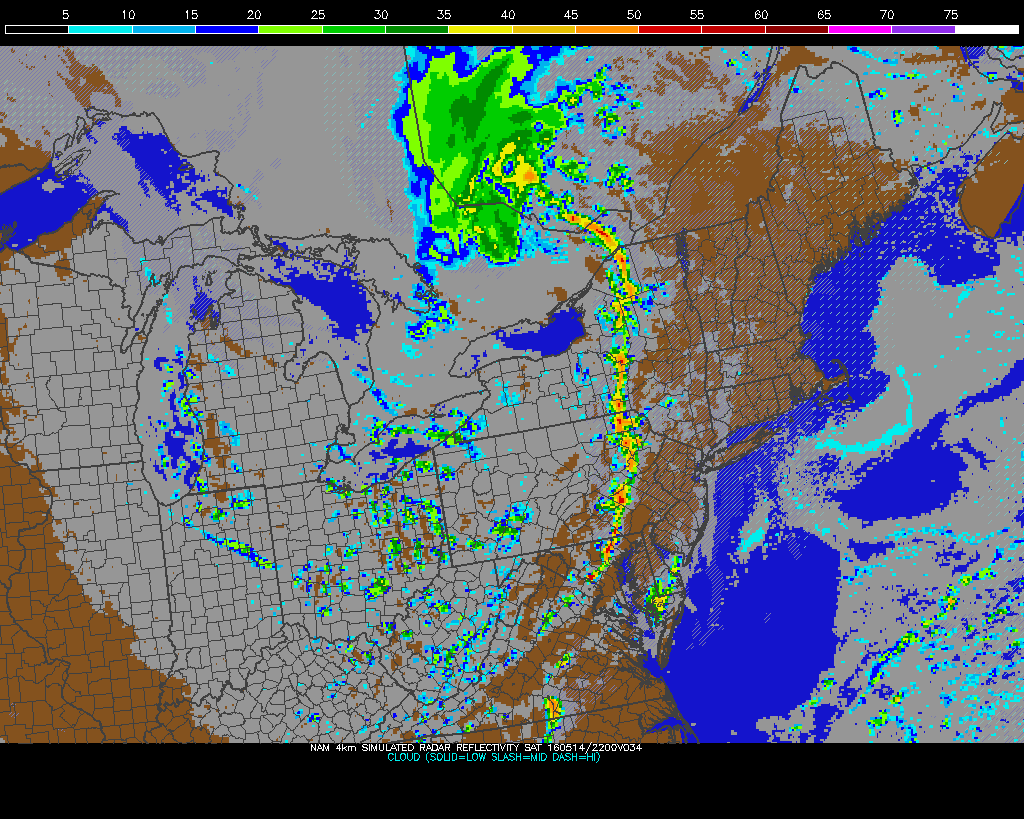 The 12z NAM showing line of showers of thunderstorm late tomorrow afternoon approaching the region.