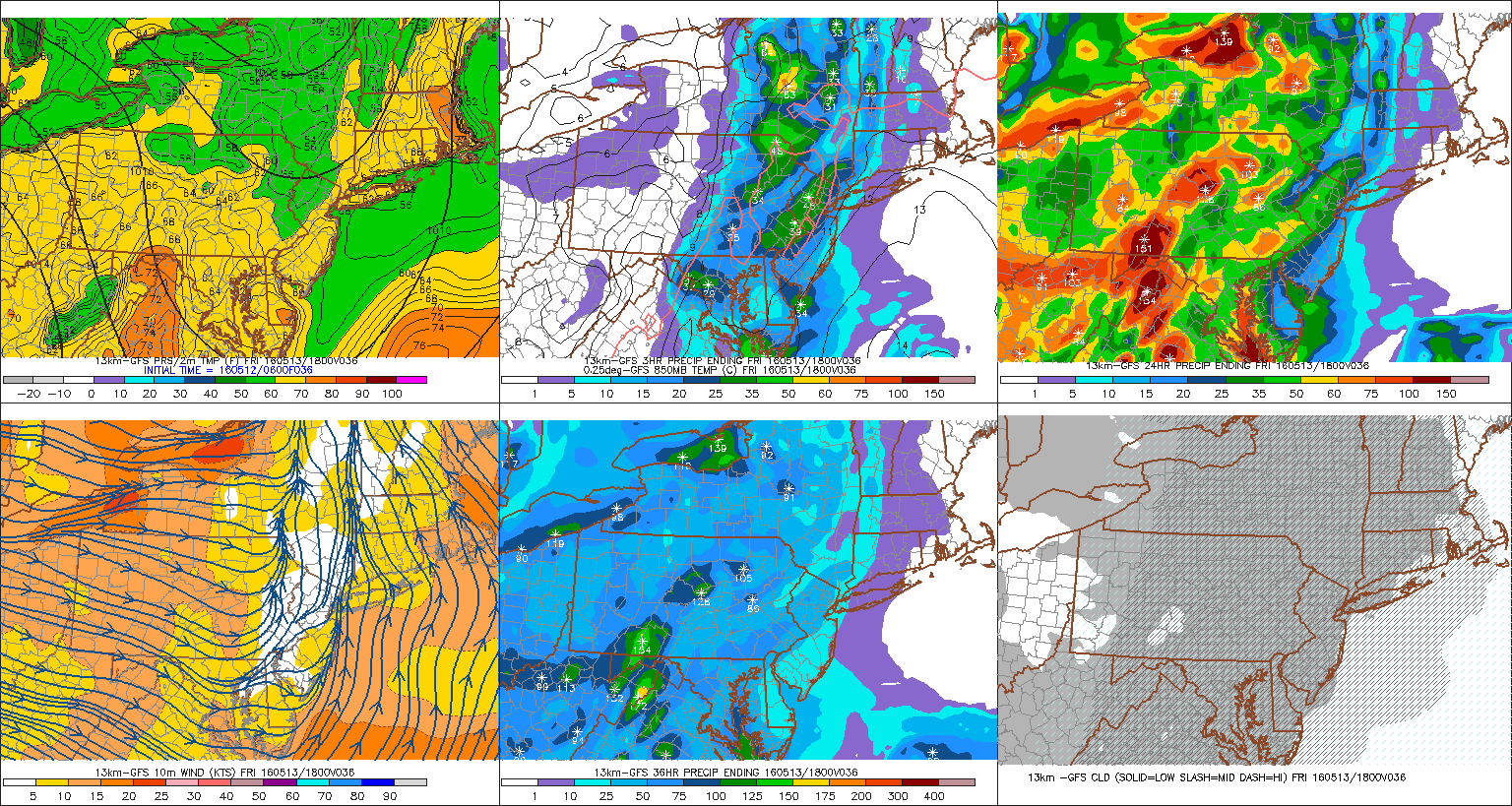 The GFS showing possible heavy rain with showers and possible thunderstorms on Friday