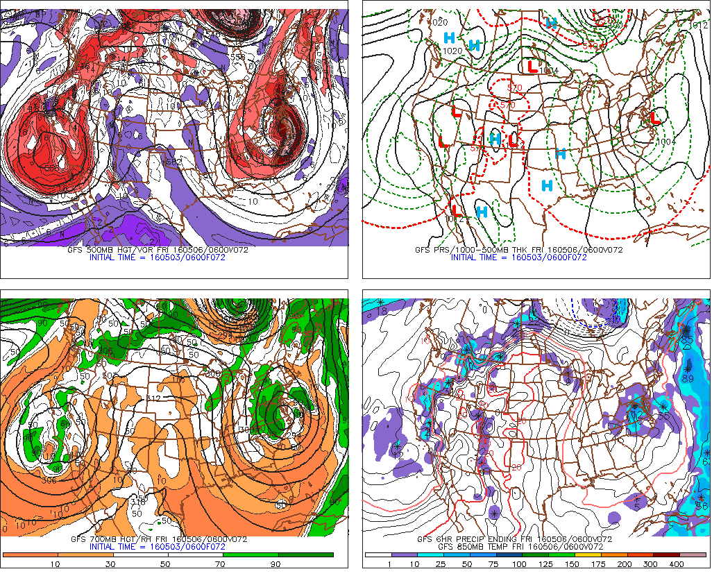 The GFS showing omega block with cut-off lows over along the West and East Coasts