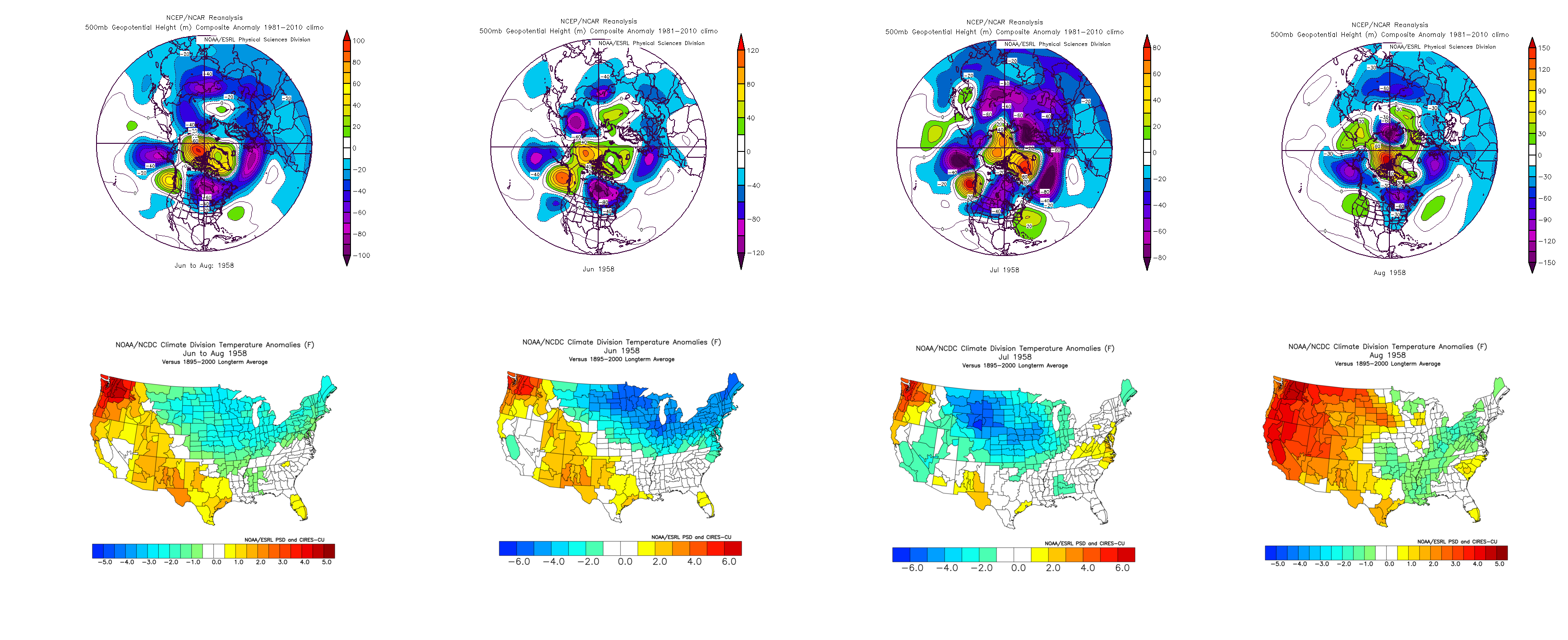 1958 500mb mean height anomalies and temperature anomalies for each summer month