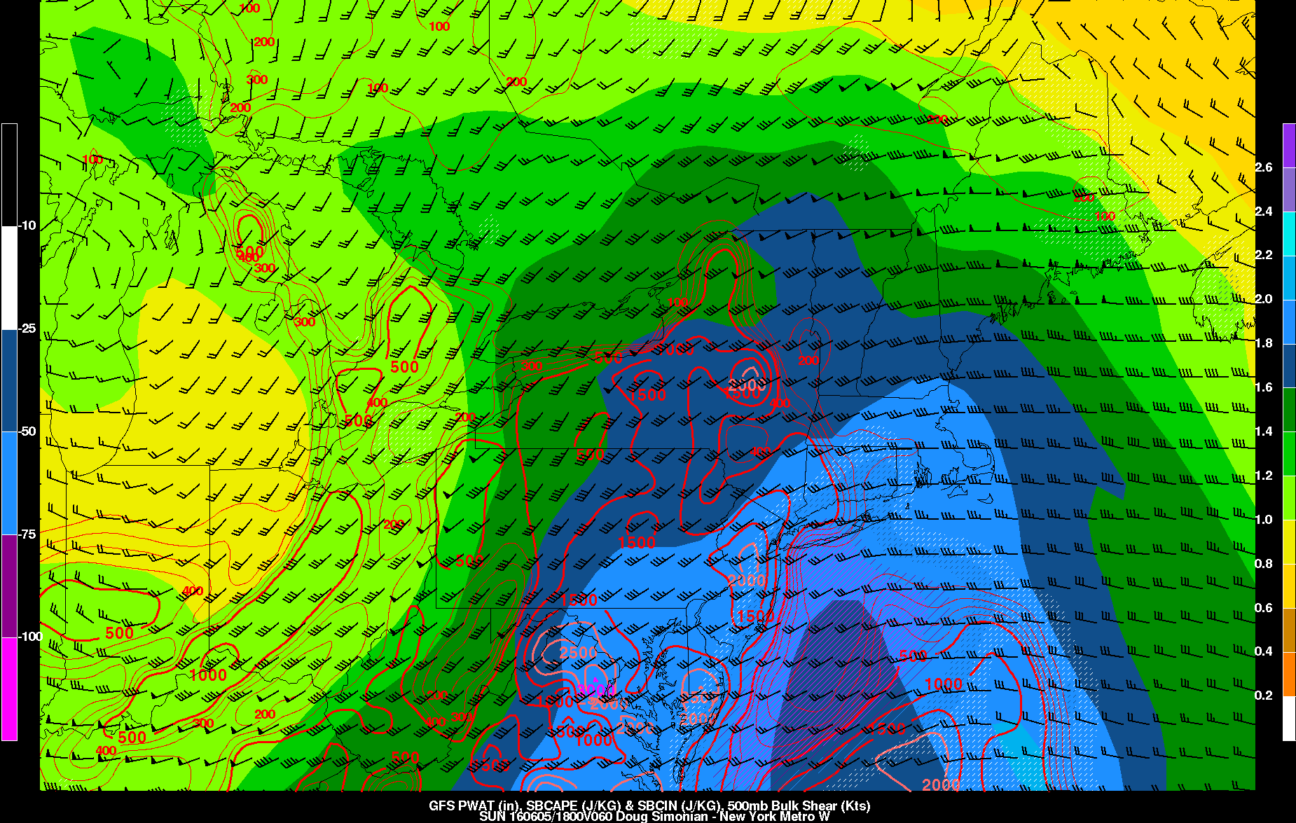 GFS showing high preipitable water values across the region with more instability southwest of New York City