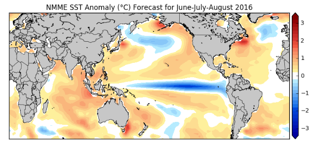 NMME model sea-surface temperature anomaly forecast for the meteorological summer months