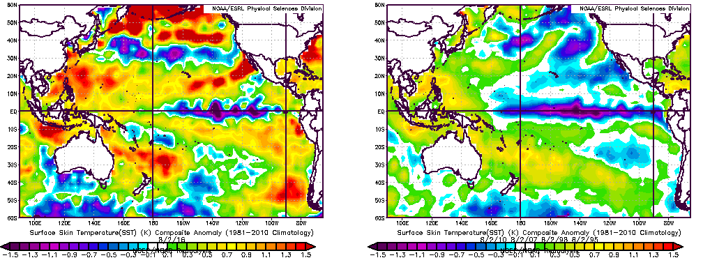 SST composites of past El Nino to La Nina transitions show a much colder overall Pacific than what we currently have. This may be one reason why this La Nina is not truly developing (ESRL/NOAA).