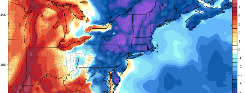 Today's GFS Model valid for Sunday night shows temperatures well below average (Tropical Tidbits).