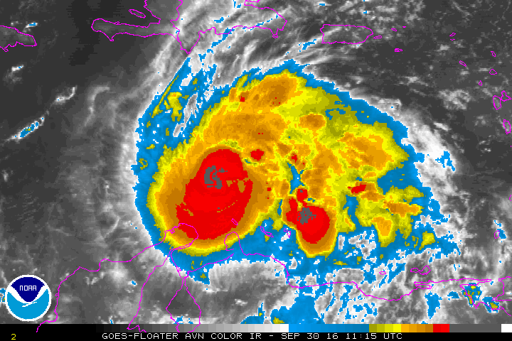Infrared satellite imagery showing deep convection over Matthew center this morning