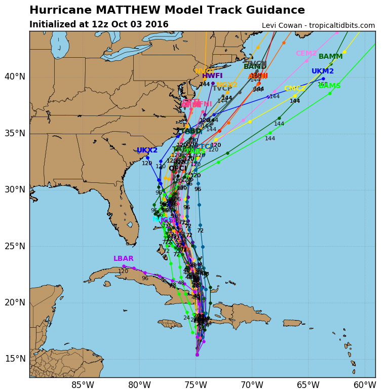 12z Model guidance from Monday morning showing some potential tracks for Matthew.