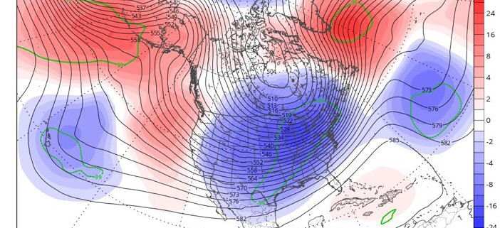 The GFS ensembles have trended to having more ridging in the NE Pacific and NW Atlantic with time, and thus more cold and troughing in the US. This trend increases confidence in cold down the road (Tropical Tidbits).