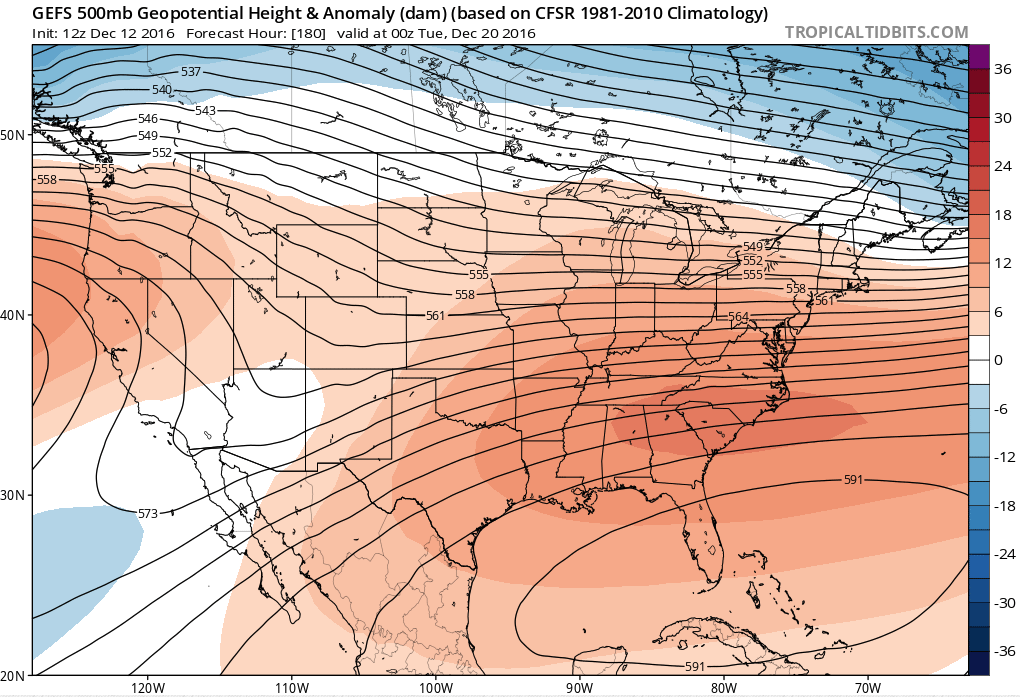 GEFS model showing a southeast ridge developing and strengthening by the end of December