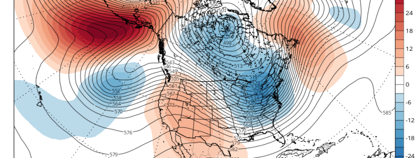 Today's GFS ensemble mean valid for the end of the month shows the first of two wave-breaking events occurring in the North Pacific, which should help turn the pattern colder. (Tropical Tidbits)
