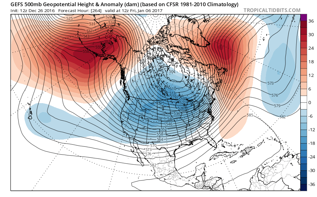 Today's GFS ensemble valid for January 6th shows high-latitude ridging in both the NE Pacific and NW Atlantic. These patterns tend to lead to a cold US and could bring snow threats to our area (Tropical Tidbits).