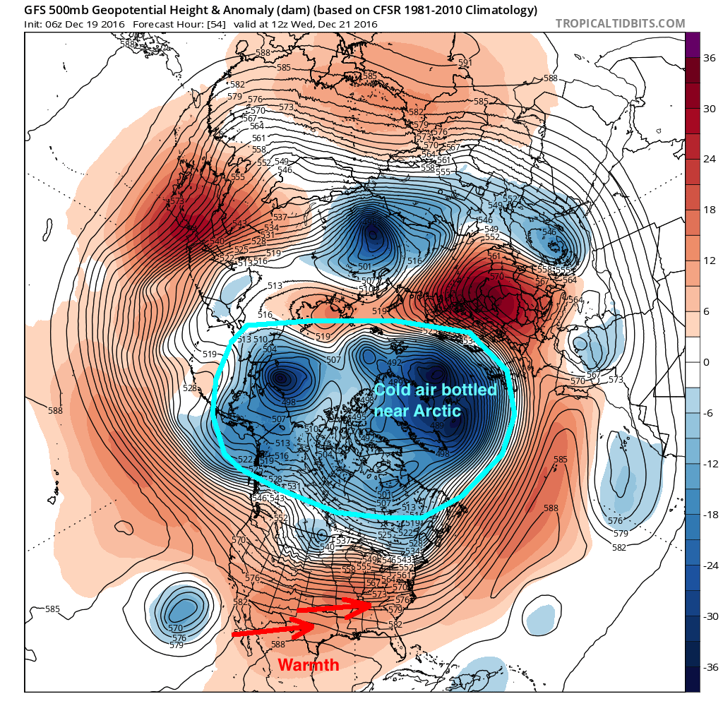 The hemispheric pattern by the end of this week on the GFS model -- showing most cold air bottled up near the Arctic regions.
