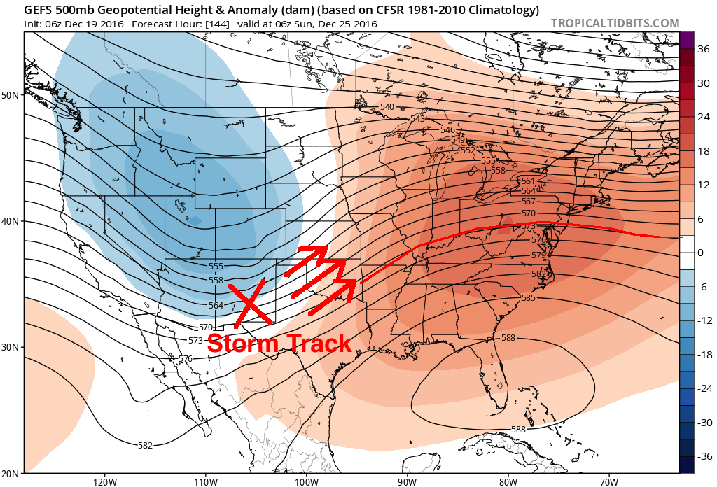The height pattern through the end of December supports storm systems tracking well west of the Northeast US, limiting winter weather chances.