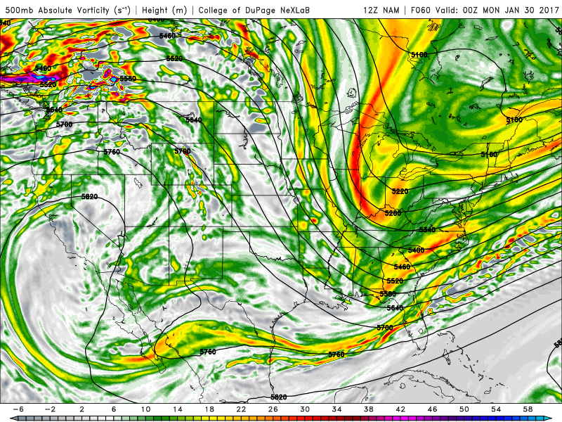 NAM 500 mb vorticity chart for 8pm Sunday, showing the first of two disturbances coming down from Canada